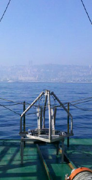 Double Van Veen Grab on the back deck of research vessel for baseline environmental assessment off the coast of Israel